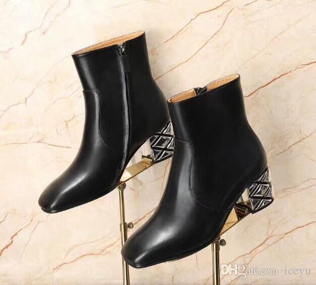 5A High heel boots, open inside bead, sheepskin 6352 fashion short boots simple classic, unique diamond shoe heel 34-40 ya DHL