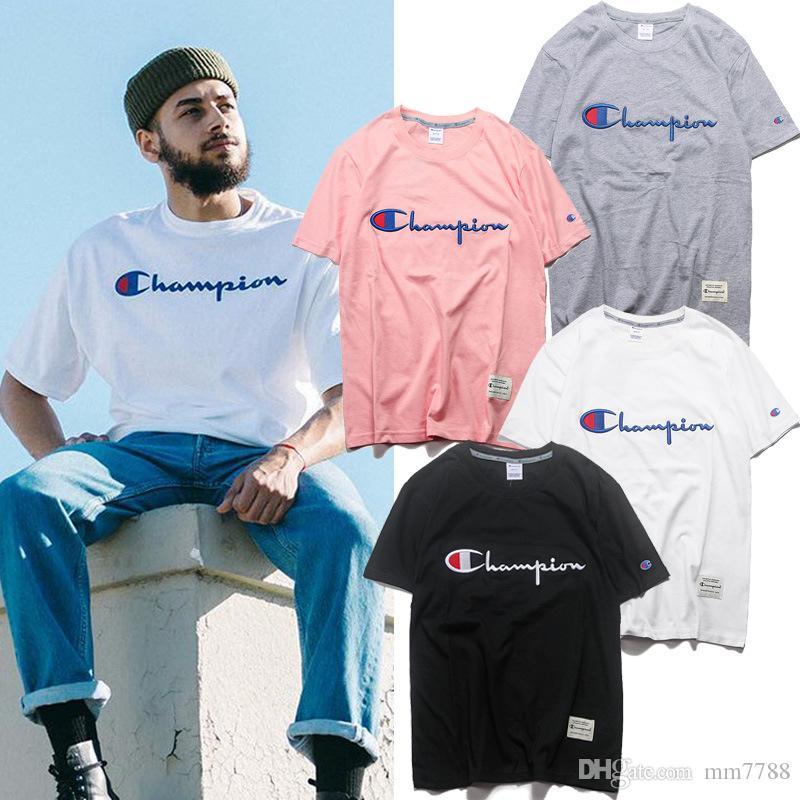 9717d671f9da74 Champion Men Women Classic Jersey Script Logo T Shirt 100% Cotton Tee Tshirt  Witty Tee Shirts Tee Shirt Funny From Mm7788, $14.27| DHgate.Com
