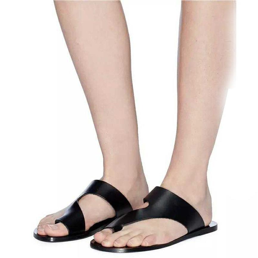 c07361d21a5cf Shoes Women Round Toe 2019 New Style Retro Womens Fashion Flats Flip Flops  Shoes Ladies Slippers Beach Roman Sandals