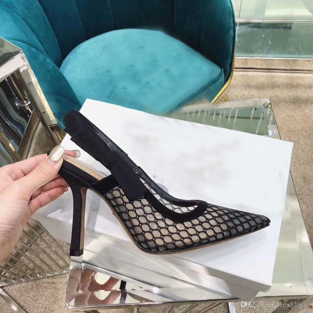 {Logo Original} Moda alta salto alto sandálias gladiador de couro sapatos pontiagudos sexy Designer de luxo calcanhar alta salto alto mulher sapatos sapatos Carta 42