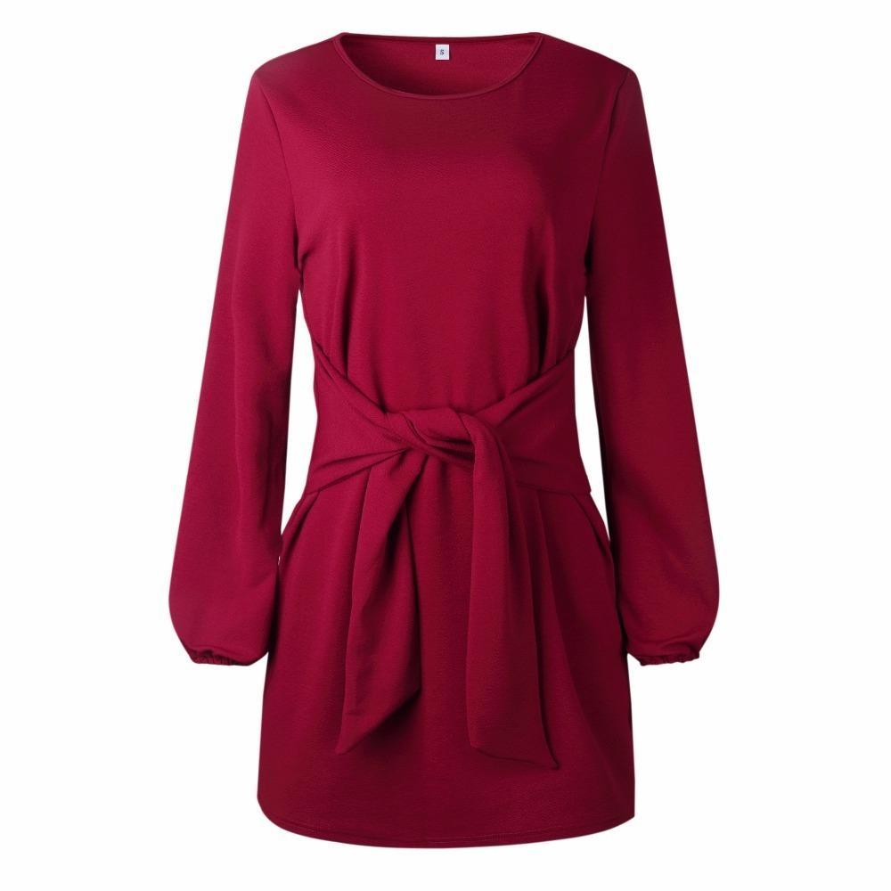 eaa9d5e7685 Großhandel Herbst Winter 2019 Beiläufige Frauen Dress Langarm Bogen Verband  Sexy Kurzes Kleid Paket Hüften Streetwear Dress Schwarz Weiß Vestidos Von  ...