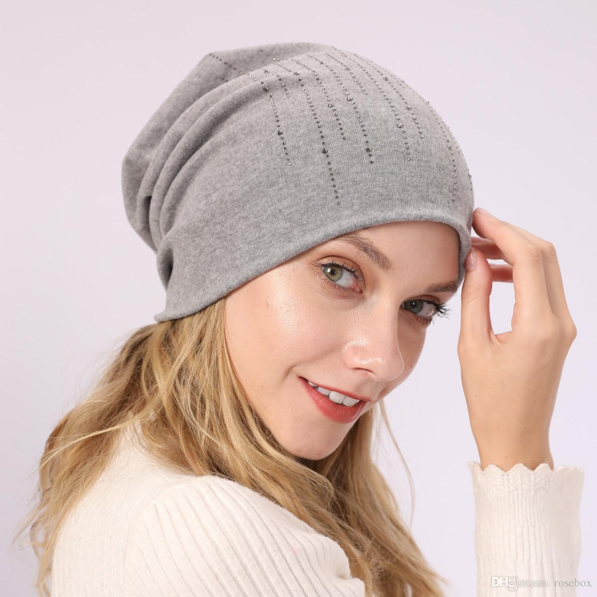 Women Rhinestone Knitted Cap Winter Thin Cotton Hat Autumn Outdoor Windproof Beanies Elastic Warm Hats 2 Pieces ePacket