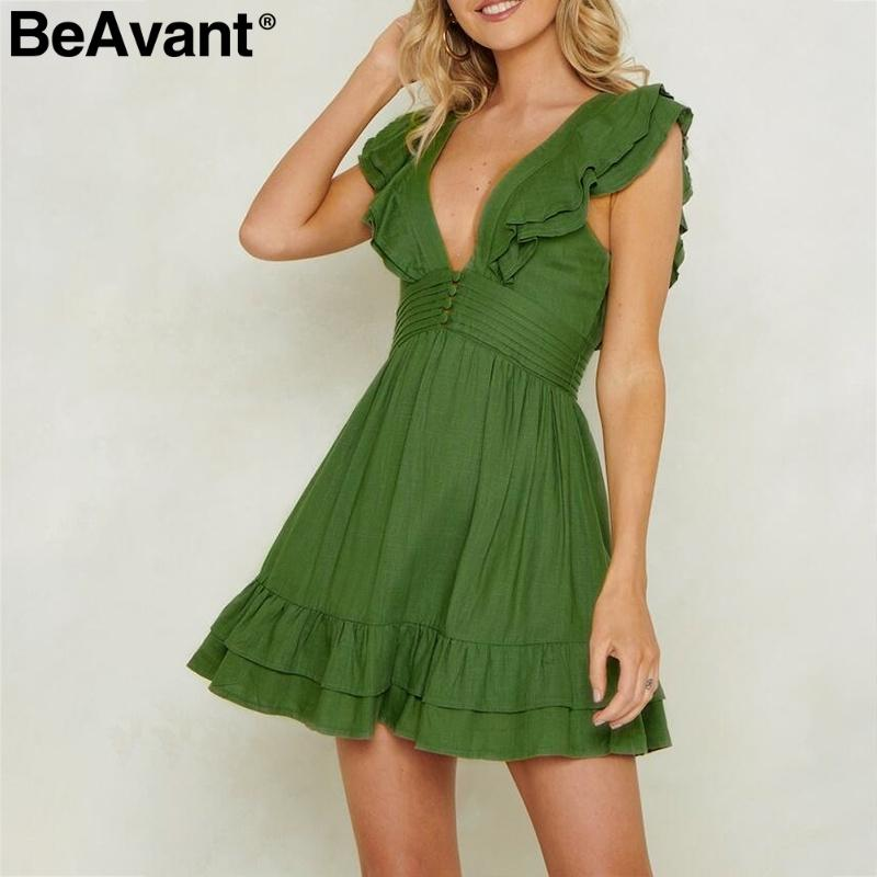aa3c306599 2019 Beavant Elegant Ruffle Cotton Linen Women Sexy Deep V Neck Short Mini  Dress Backless Lace Up Button Summer Dresses Ladies C19040402 From  Shen8407, ...