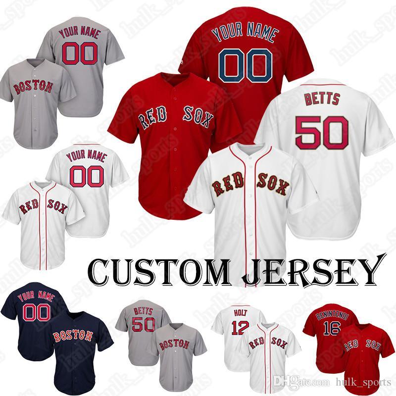 quality design 57d2f be2ba Red Sox jersey 50 Mookie Betts jerseys Baseball Custom jerseys 32 Barnes 16  Benintendi 2 Bogaerts 70 Brasier 54 Brewer