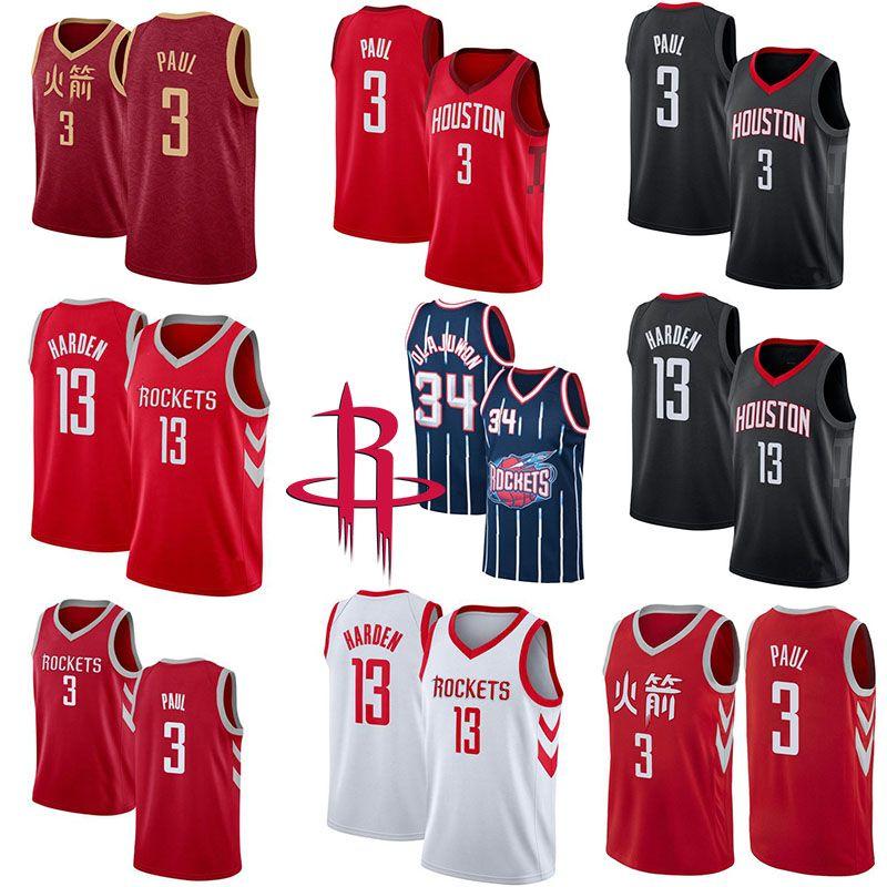 watch ffe86 2280c 13 James Harden New Houston Mens Rockets Jerseys 3 Chris Paul 34 Hakeem  Olajuwon White Black Red Cool Quick Dry Jersey