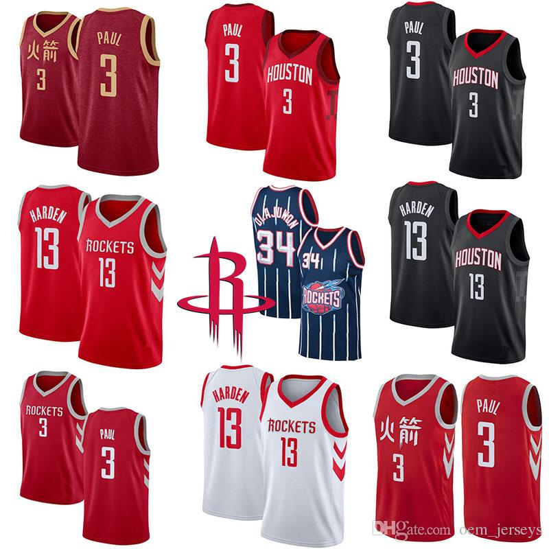 huge discount 21a99 9477f Basketball Jerseys Houston Mens Rockets 3 Chris Paul 13 James Harden 34  Hakeem Olajuwon Black White Red Cool Quick Dry Jersey