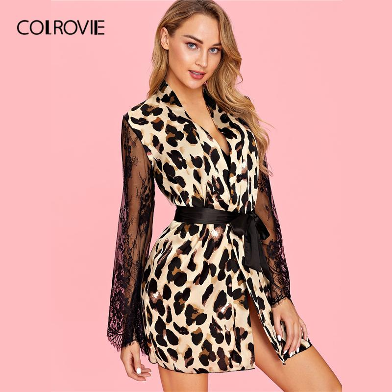 6f17601ce21e 2019 COLROVIE V Neck Contrast Lace Belted Leopard Robe With Thong Women  2019 Spring Long Sleeve Sexy Sleepwear Robe Ladies Sleepwear From Cagney