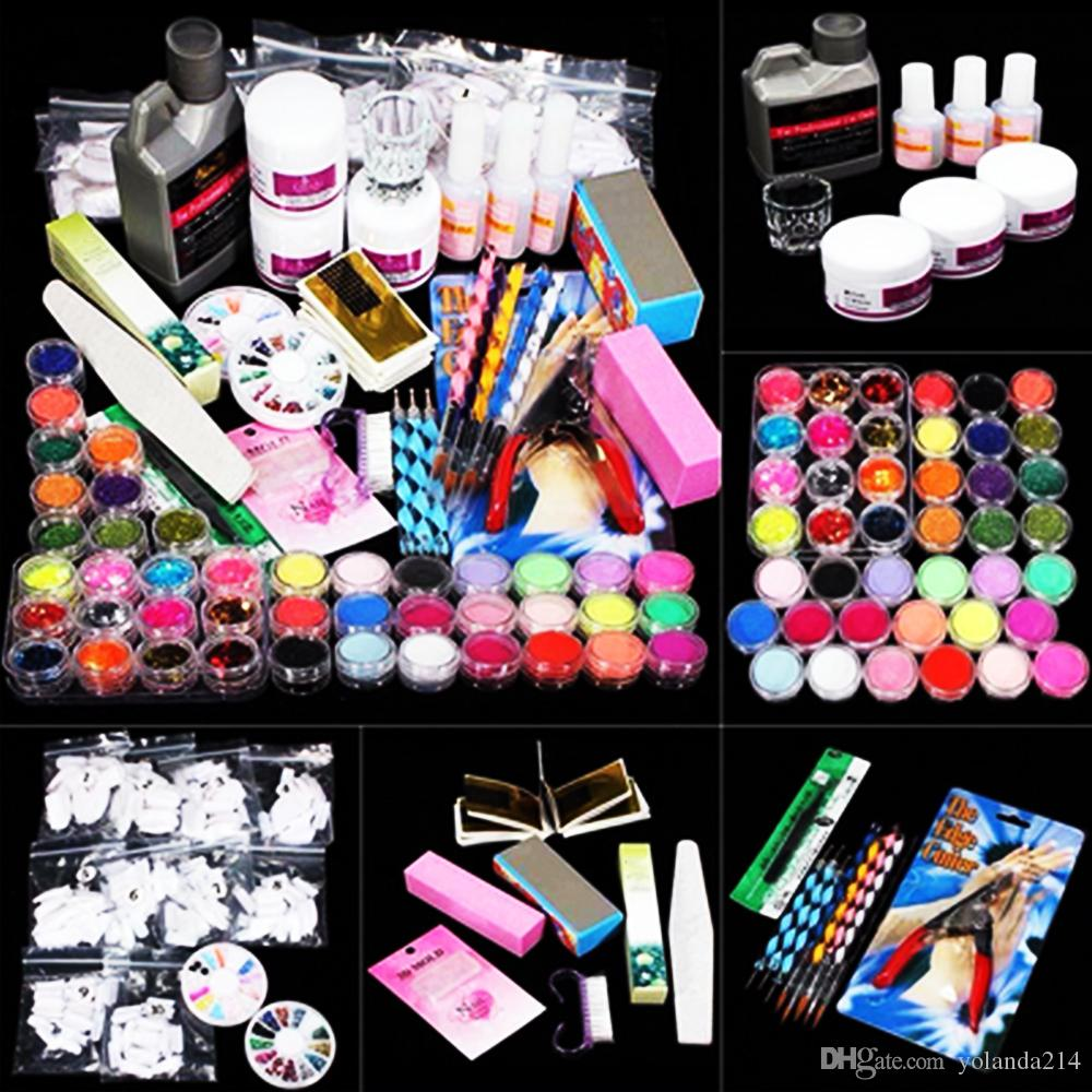 Professional Nail Art Kit Sets Manicure Set Nail Care System Acrylic Powder Liquid Glitter Glue Toes Separators Brush Tweezer Primer Tips