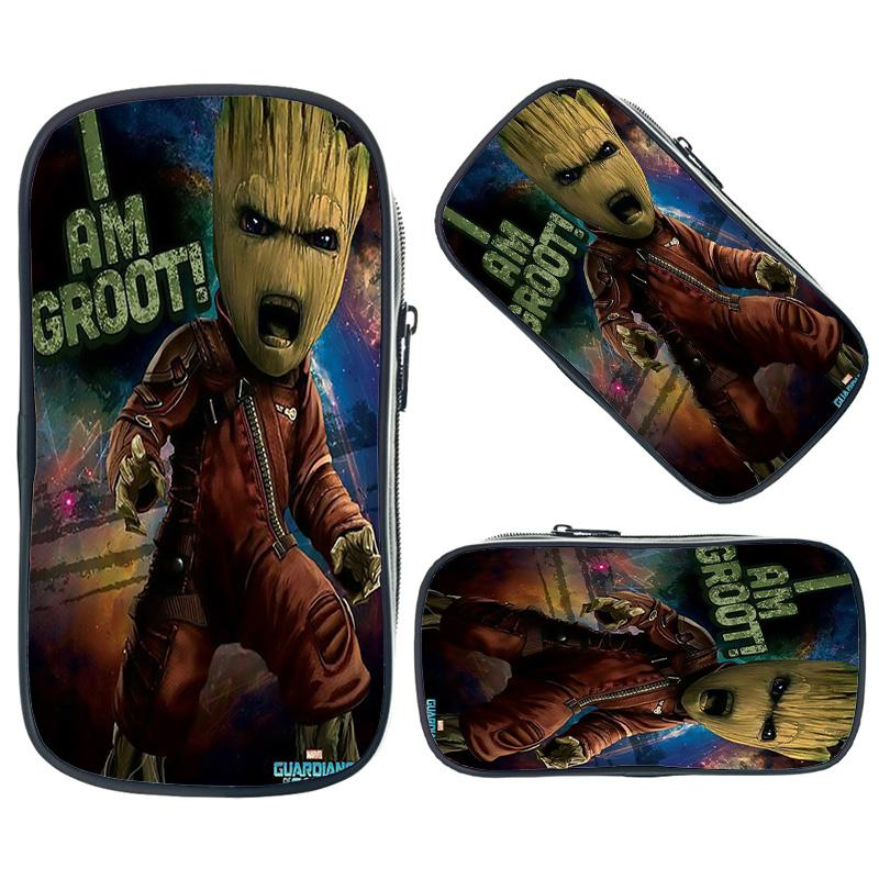 New I Am Groot Pencil Bag Boys Girls Makeup Bag Kids School Supplies Stationery Storage Pouches Fashion Cosmetic Cases
