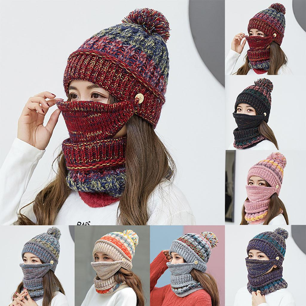 Womens Crochet Knitted Woolly Hat With Scarf Mask Beanie Warm Fleece Ski Cap  Winter Hats For Mature Person Women Hats Cool Beanies From Watcheshomie 1cb1c433e9e