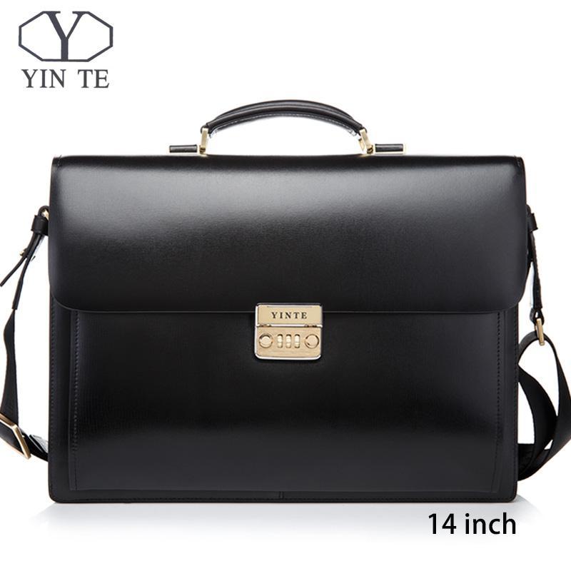 76e2422ea6 YINTE Men Leather Bag Laptop Briefcase Messenger Lawyer Office Bags For Men  Case Portfolio T8158 5 Shoulder Bags For Men Mens Leather Briefcase From ...