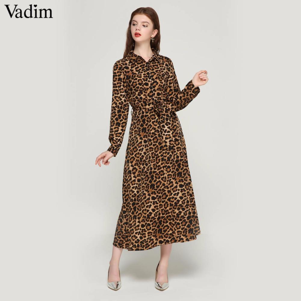 d29da7a01df2 Compre Vadim Mujeres Leopardo Vestido De Longitud Del Tobillo Vestido  Pajarita Fajas Manga Larga Retro Damas Casual Vestidos Elegantes Vestidos  QA472 A ...