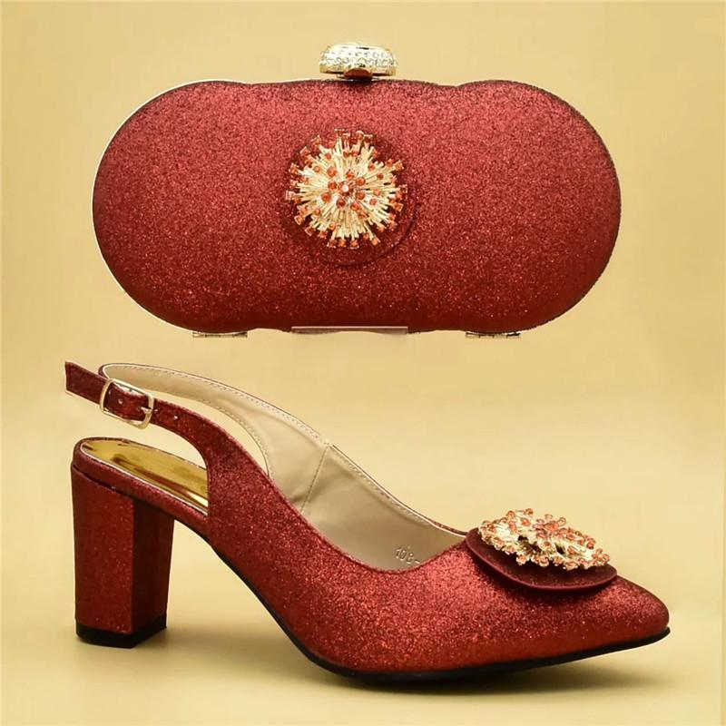 8c212b17b00 New Fashion Shoe and Bag Set for Party In Women Nigerian Women Wedding  Shoes and Bag Set Decorated with Appliques High Heels