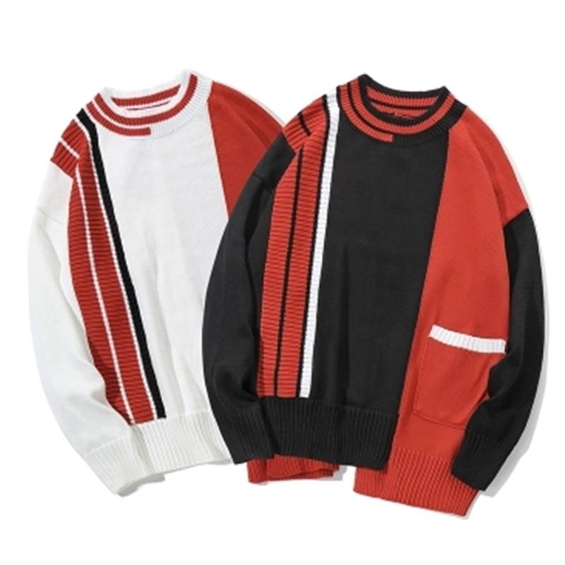 2f3da3ac2c Sweater Hip Hop Irregular Color Block Patchwork Knitted Sweaters ...