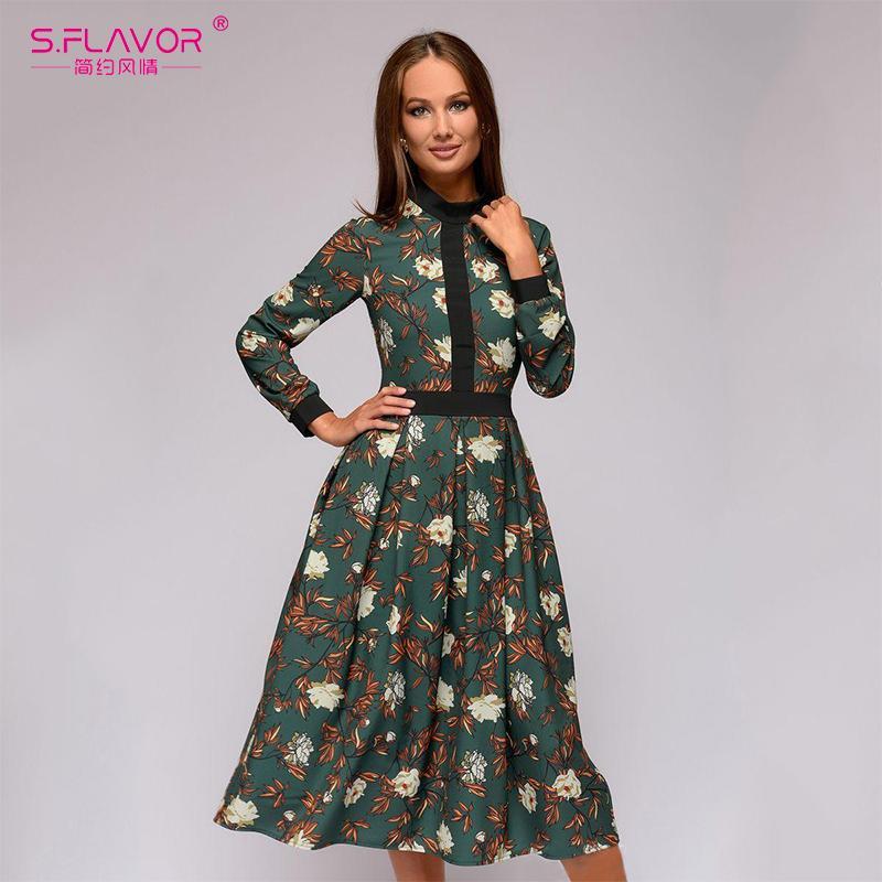 25e3f629a Compre S. FLAVOR Impresión De Retazos De Las Mujeres A Line Vestido 2019  Primavera Verano Vestidos De Estilo Vintage Para Mujer Vestido Largo  Inferior ...