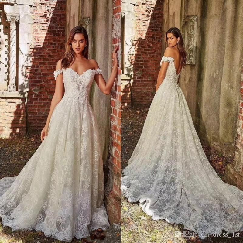 4097b71af2b Discount 2019 Design Lace A Line Wedding Dress Off The Shoulder V Shape  Back Ivory French Lace Fabric Vintage Bridal Gowns Cheap Bridal Gowns Civil  Wedding ...