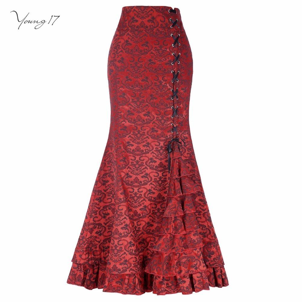 ae32d5c34 Estilo de la corte de las mujeres con cordones Jacquard floral sirena larga  falda negro púrpura gris volantes rojo primavera invierno maxi faldas ...