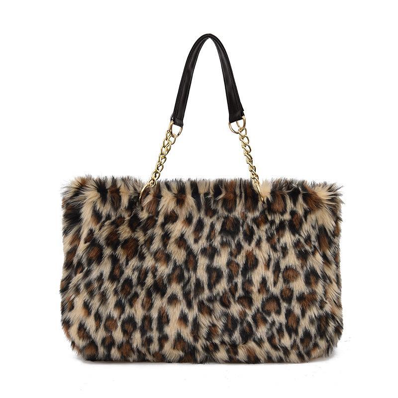 d1ed680716 2019 Fashion Faux Fur Handbag For Women 2018 Winter Shoulder Bags Large  Capacity Tote Bags Fashion Retro Leopard Handbags Chain Hand Bag Leather  Purses ...