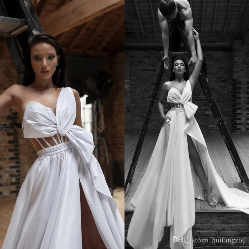43209335b14ae Discount 2019 New Boho Wedding Dresses Bridal Gowns Lior Charchy A Line  Thigh High Slits One Shoulder Beach Wedding Dress Cheap Vintage Gowns  Vintage ...