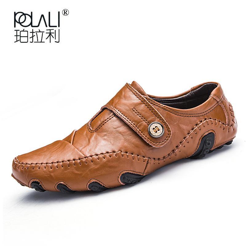 918a5370230 Compre POLALI Zapatos Para Hombre Para Hombre Mocasines De Cuero Genuino De  Los Hombres Casuales Zapatos Planos Zapatos De Goma Hebilla De Correa De  Punta ...