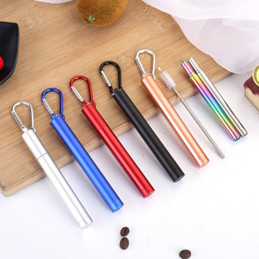 FDA Portable Reusable Folding Drinking Straws Stainless Steel Metal Telescopic Foldable Straws with Aluminum Case & Cleaning Brush ZZA1090