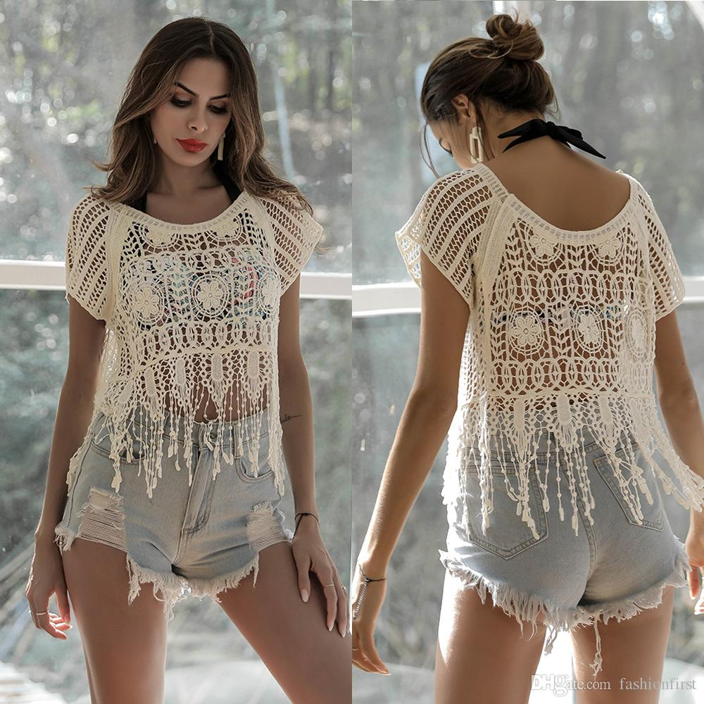 cecdd0e9dd White Hippie Crochet Top Summer Festival Boho Cover Up Blouse Floral ...