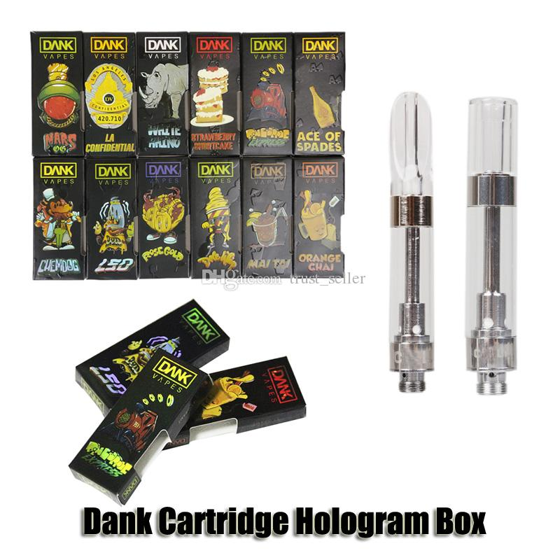 Dank Vapes Cartridge Holographic Side Window Hologram 3D Box Cereal Carts G5 Screw 0.8ml 1.0ml Ceramic Coil 510 Thick Oil Tank