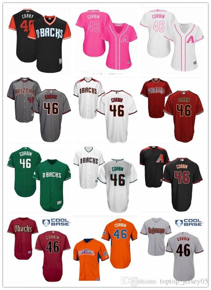 new style c493b ad5d6 2018 top Arizona Diamondbacks Jerseys #46 Corbin Jerseys  men#WOMEN#YOUTH#Men's Baseball Jersey Majestic Stitched Professional  sportswear