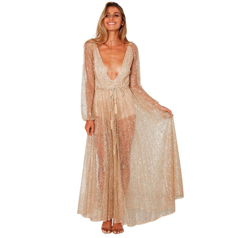 8b7ac12f39 Sexy Women Glitter Maxi Dress Sheer Mesh Plunge V Neck Long Sleeve  Transparent Dress Tassel Formal Party Long Dresses Clubwear