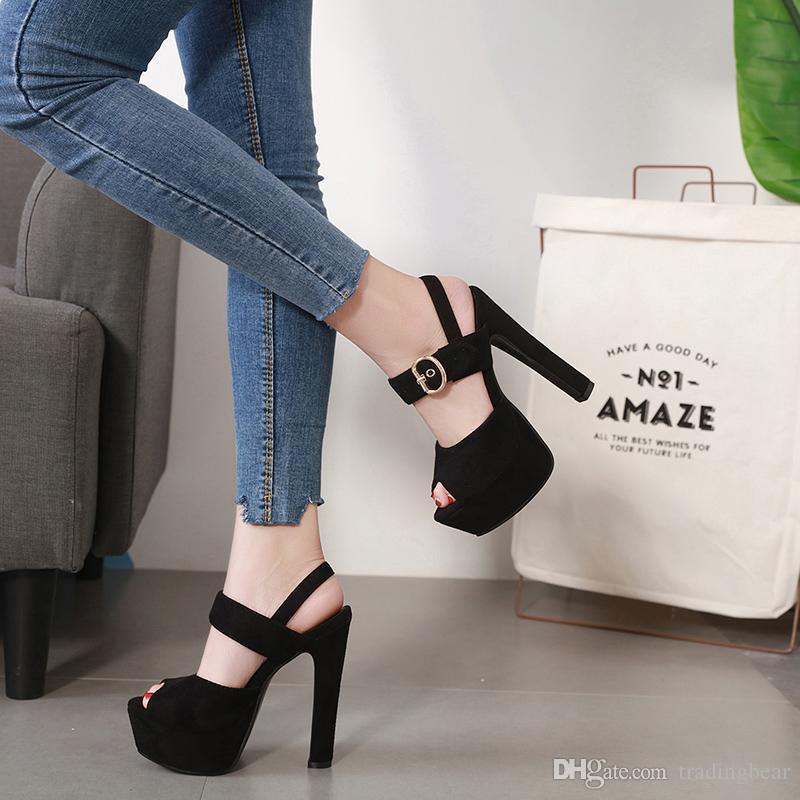 camurça preta confortável fivela de calcanhar grosso sapatos de plataforma de design de verão sandálias de grife 14,5 centímetros Tamanho 34 a 39 tradingbear