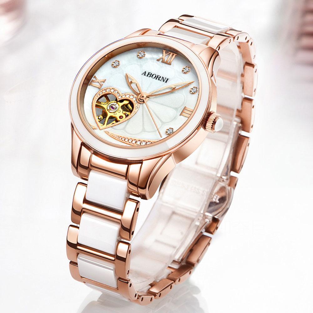 efe52448407f Compre ABORNI Relojes De Cerámica Para Mujer Reloj Esqueleto Mecánico Amor  Diamand Reloj De Oro Automático Automático Rosa Dorada Reloj De Pulsera De  Señora ...