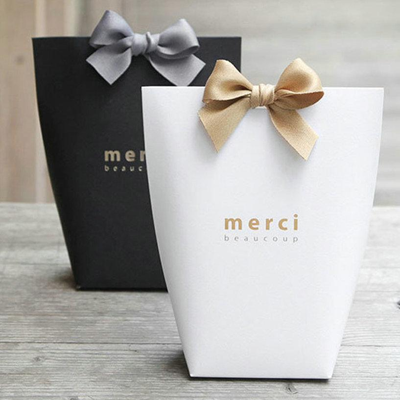 Merci Bags Paper Candy 5pcs/set Present Box French Thank You Wedding Favors Gift Boxes Bag Package Birthday Party Bags