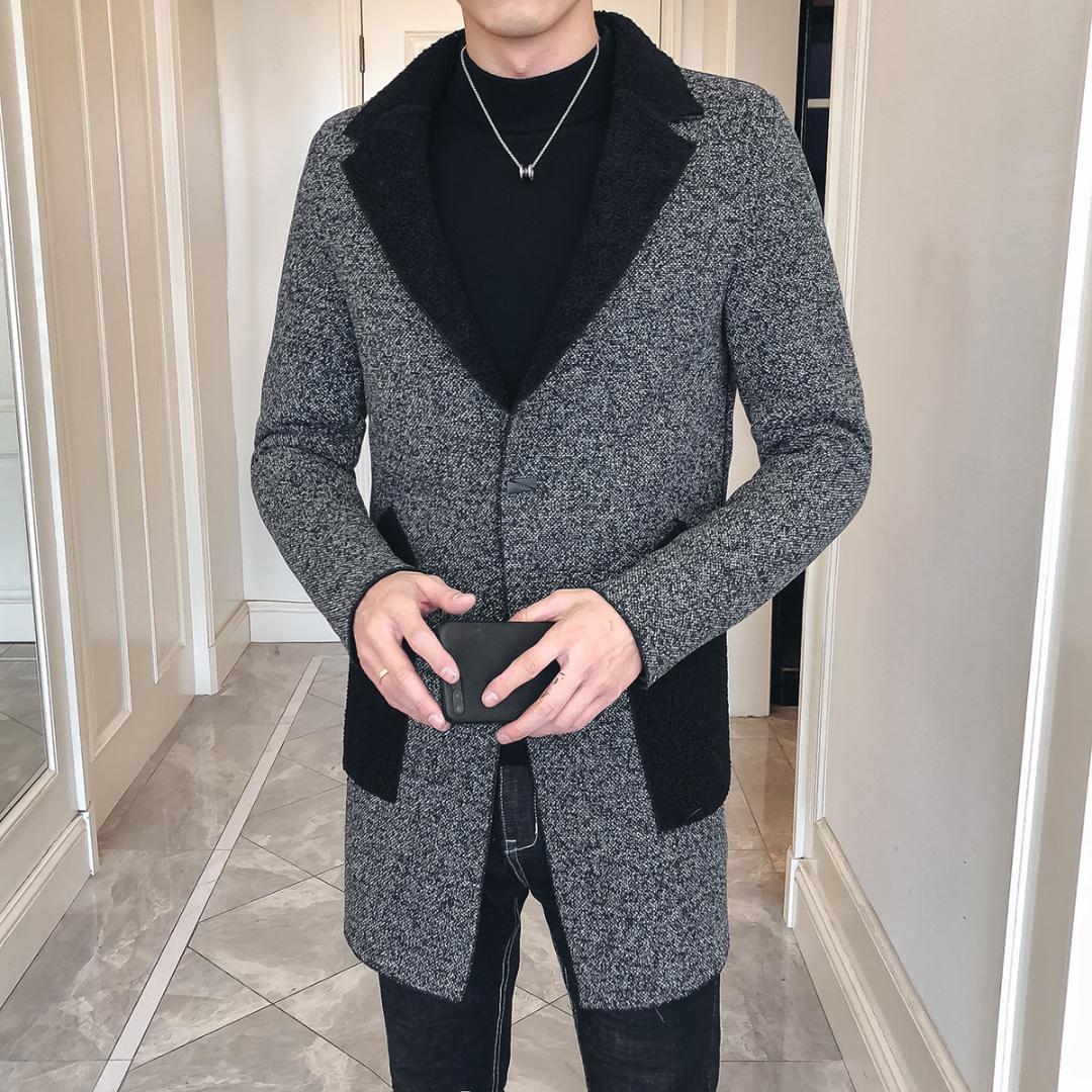 Damenmode Wollmantel Jacke Winter Zweireiher Slim Fit Oberbekleidung Graben