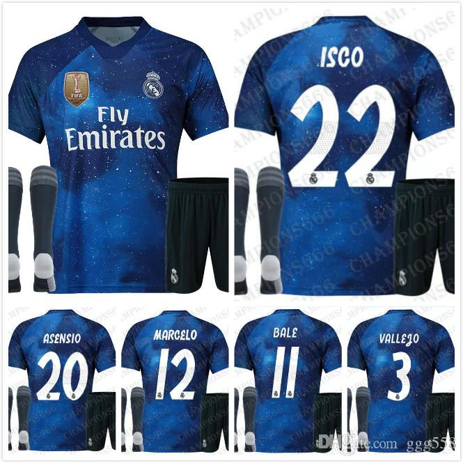 85b3a1e5582 2019 New 2019 Real Madrid Suit 4th EA Sports Soccer Jerseys 18 19 Home  MODRIC MARCELO 2018 3rd VINICIUS JR KROOS ISCO BALE Football Shirts Socks  From Ggg558 ...