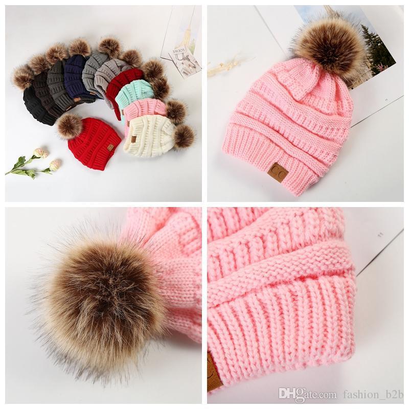 f074ae06 Large Ball Winter Wool Warm Women Knitted CC Hat Fur Pom Poms Crochet Beanie  Ski Cap Bobble Fleece Cable Slouchy Skull Caps E CC Knitted Hat CC Fur Hat  CC ...