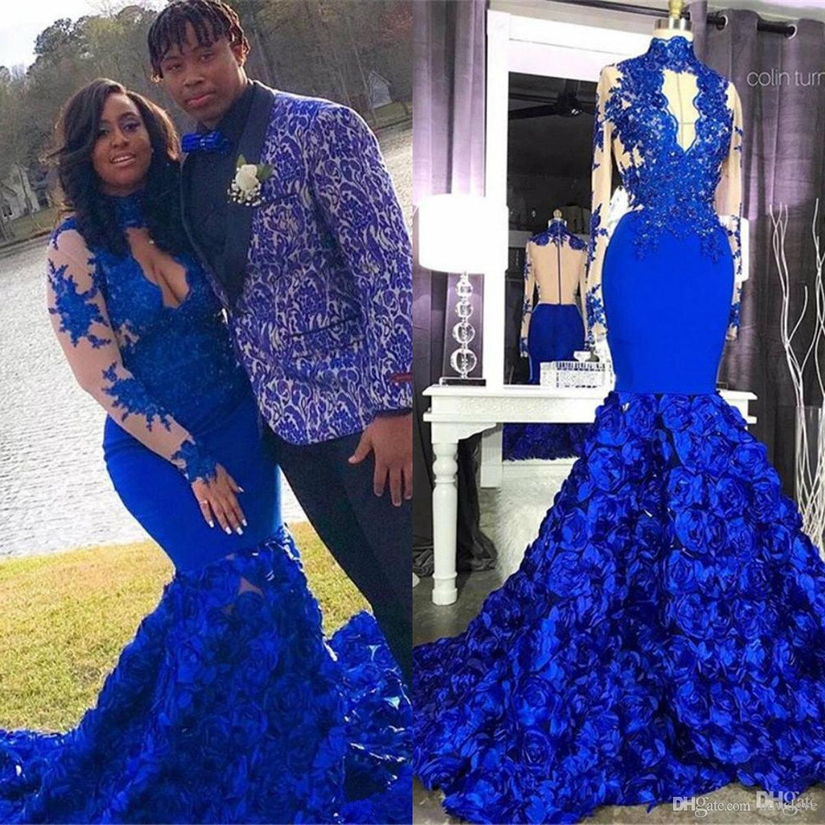 a60f0756d48a 2019 Stunning Prom Dresses 3D Rose Flower Royal Blue High Neck Long Sleeve Applique  Mermaid Prom Evening Gowns Special Occasion Dress Greek Style Prom ...