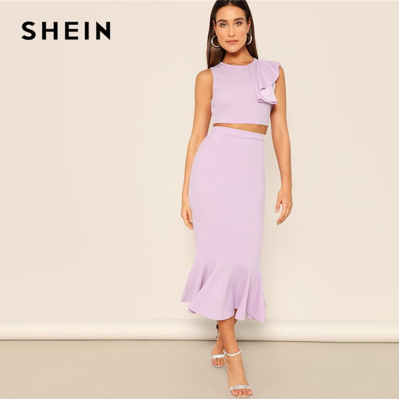 SHEIN Purple Zip Back Ruffle Trim Crop Top e gonna a sirena Set donna 2019 Summer Round Neck senza maniche Casual Twopiece