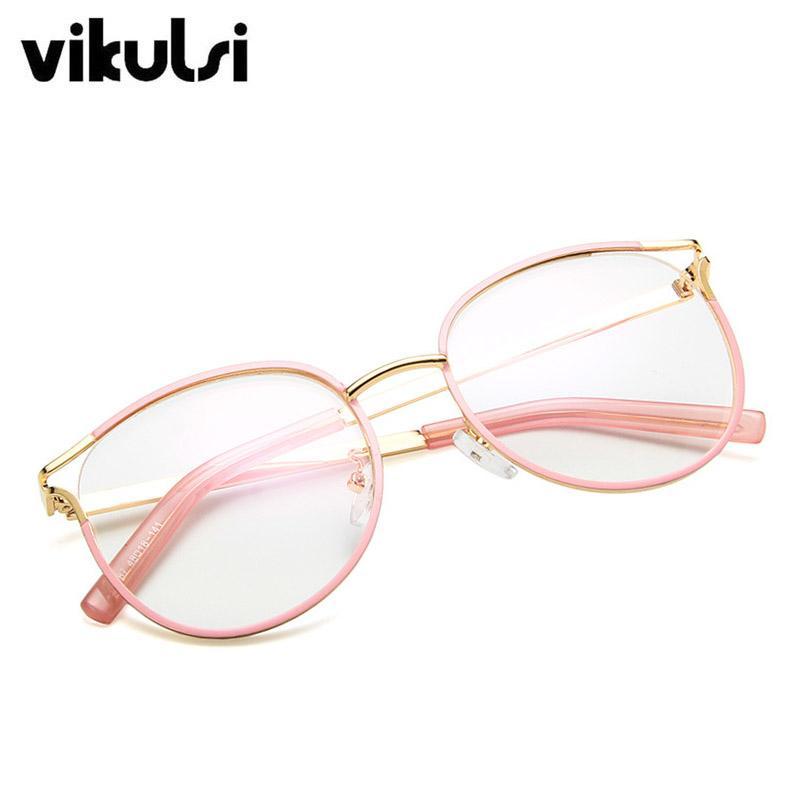 Compre Nova Moda Olho De Gato Armações De Óculos Mulheres Estilos De  Tendência Marca Óculos De Computador Óptico Armação De Metal Óculos Para  Feminino ... e710929fec