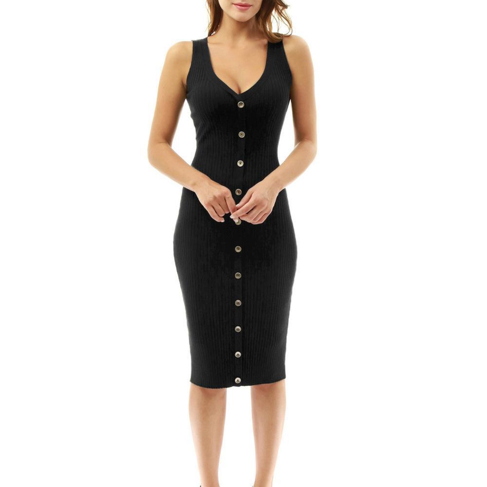 3d5c03276 Compre 2019 Nuevo Botón De Verano Vestido Casual Tanque Bolsillos Largos Vestidos  Sexy Con Cuello En V Negro Elegante Señora Dess Mujer Mujer Ropa C19040301  ...