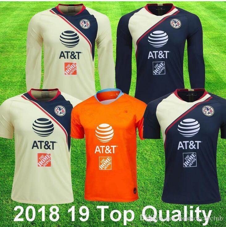 2018 19 Camisetas De Fútbol De Manga Larga Del Club America 3a Naranja P  AGUILAR O PERALTA   24 WILLIAM DOMINGUEZ Camiseta De Fútbol De Calidad  Superior ... 2d57a0d82d34d