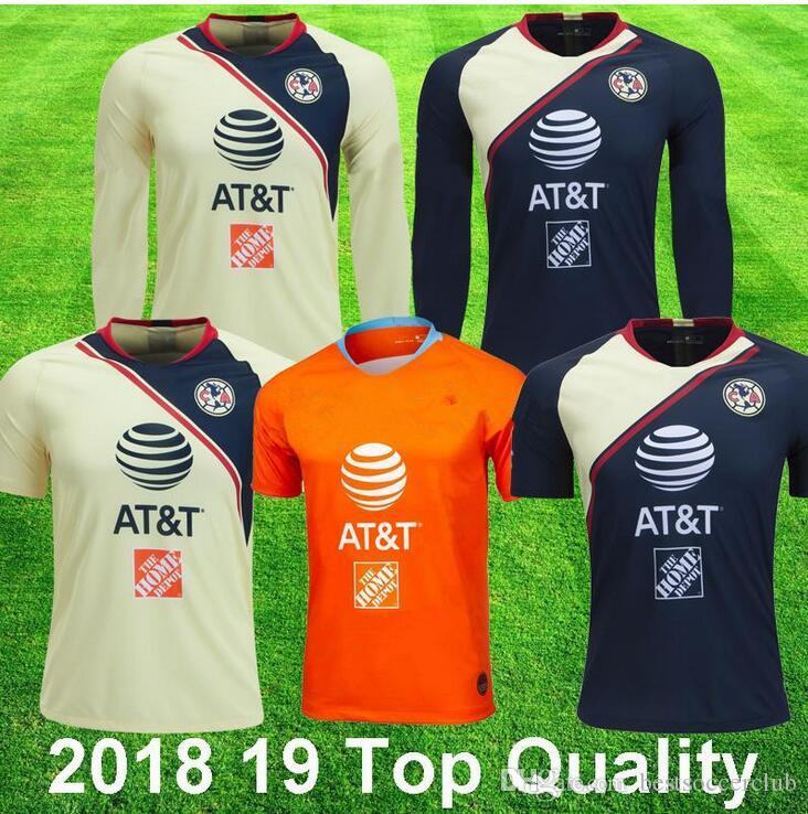 outlet store c4da9 4d867 2018 19 Club America Long Sleeve Soccer Jerseys 3rd Orange P AGUILAR O  PERALTA #24 WILLIAM DOMINGUEZ Football Shirt Top Thai Quality