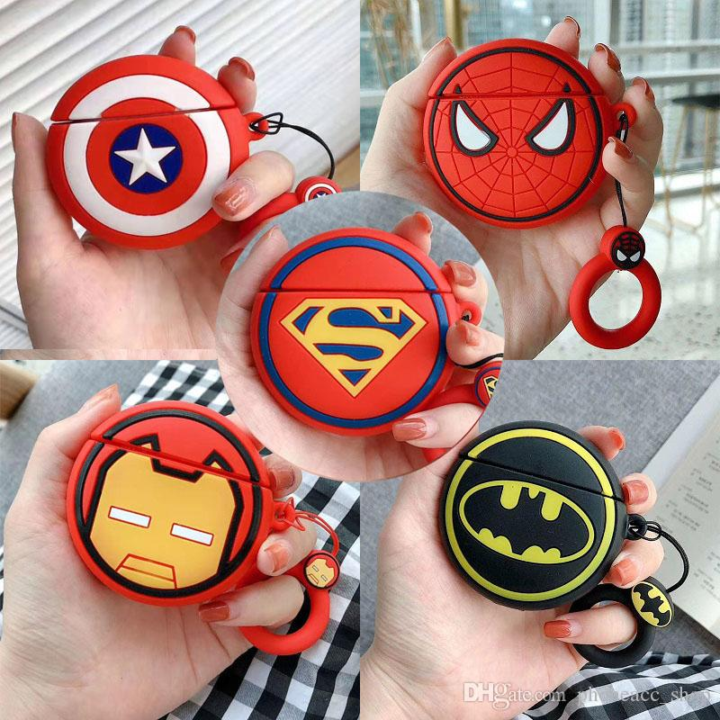 3D Cartoon Superhero Case for Apple AirPods Superman Captain America Protective Shockproof Silicone Case Cover For Airpods 2