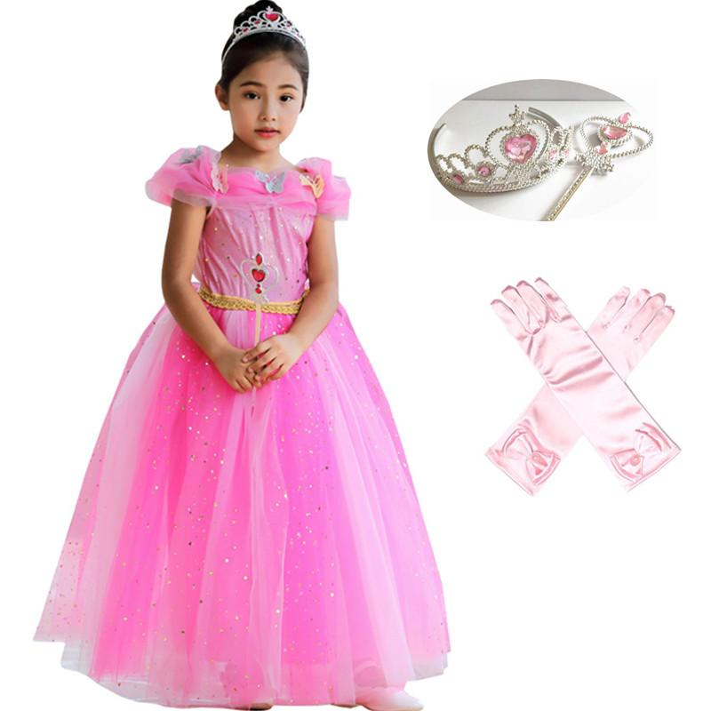 b259ff82b84f 2019 Kids Girls Princess Sleeping Beauty Aurora Dress Up Halloween Cosplay  Costume With Butterfly Children Party Long Gown From Cornemiu