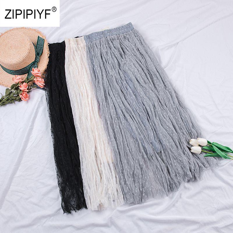 5d0ef503b17 2019 High Waist Women Mesh Sheer Skirts Womens Pleated Skirt Spring ...