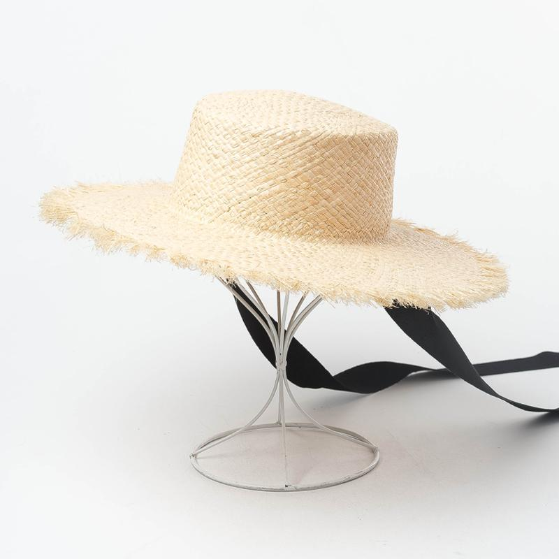 eff067e0 Boater Hat with Ribbon Ties Riffia Hat 2019 Women Summer Sun Hats UV ...