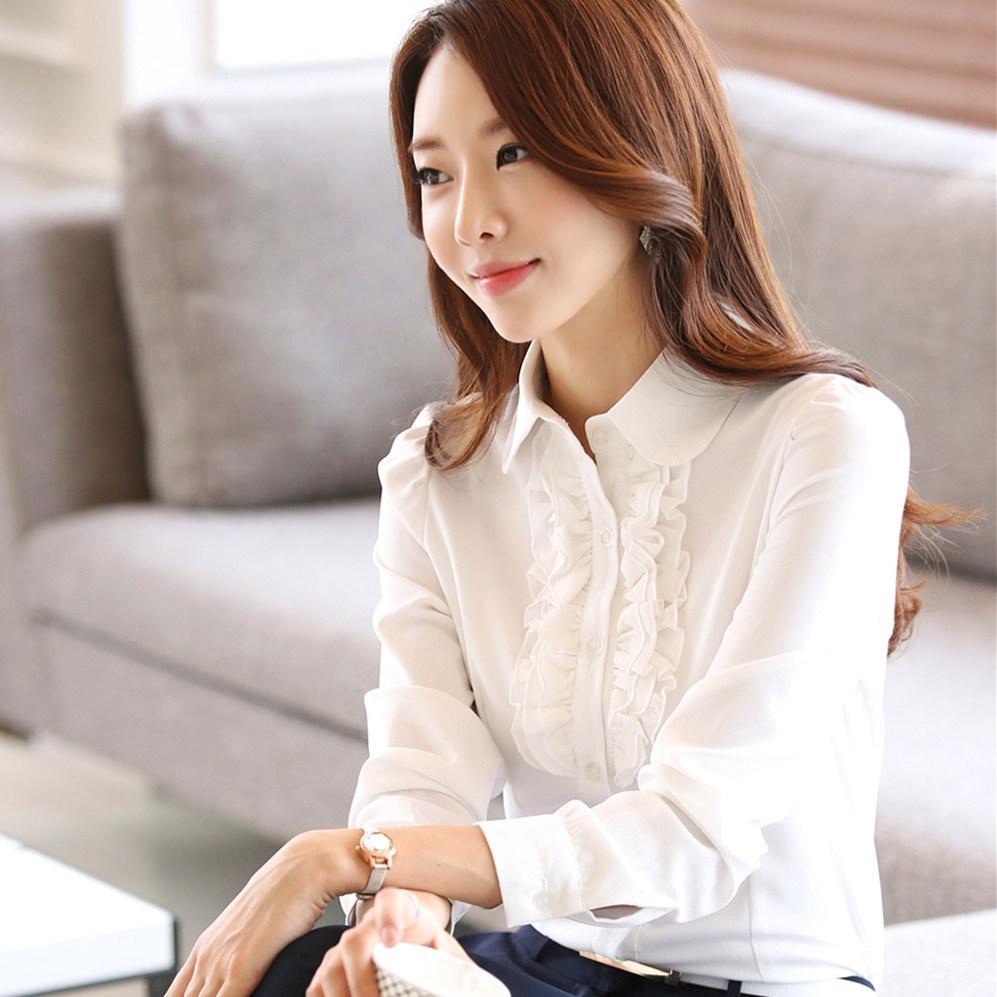 c437cfb6c2 Compre Camisa Blanca 2018 Primavera Otoño Nueva Blusa Mujer Coreana Manga  Larga Casual Lindo OL Trabajo De Oficina Blusa De Gasa Ropa Dama A  48.0  Del ...