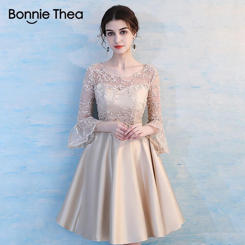 f5985b1f1 Bonnie Thea bordado de color caqui mujeres sexy vestido de fiesta otoño  femme vestido elegante A-Line corto damas ropa para mujer vestidos