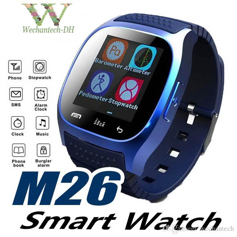 Smart Bluetooth Watch Smartwatch M26 with LED Display Barometer Alitmeter Music Player Pedometer for Android IOS Mobile Phone with Box