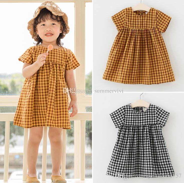 b51a407b6df8e 2019 Summer nw kids plaid dress girls round collar short sleeve lattice  children cotton plaid loose casual dress baby girl clothes