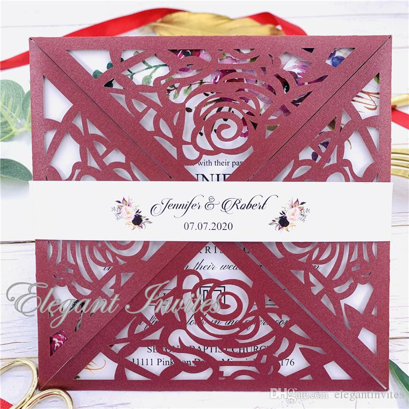 Fold Elegant Flowers fold Customized Paper Wholesale Laser Cutting Wedding Invitation Cards(Burgundy) RSVP Cards with Envelope free shipping